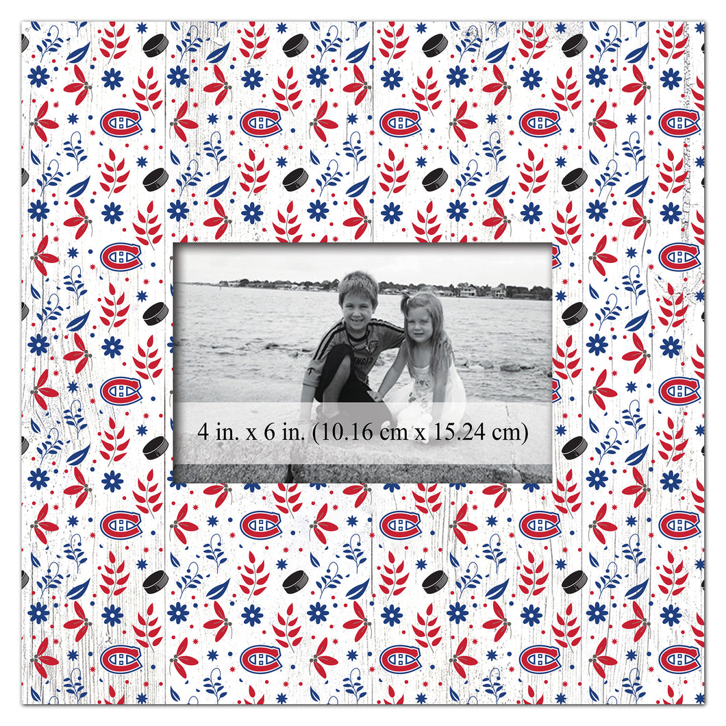 Montreal Canadiens Floral Pattern Picture Frame