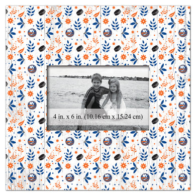 New York Islanders Floral Pattern Picture Frame