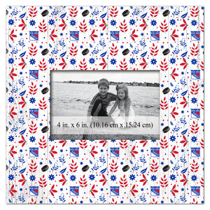 New York Rangers Floral Pattern Picture Frame