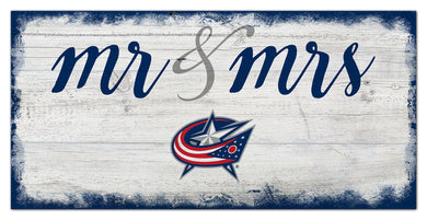 Columbus Blue Jackets Mr. & Mrs. Script Wood Sign - 6