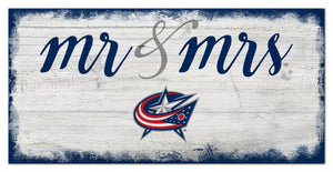 "Columbus Blue Jackets Mr. & Mrs. Script Wood Sign - 6""x12"""