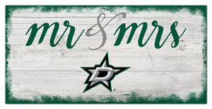"Dallas Stars Mr. & Mrs. Script Wood Sign - 6""x12"""