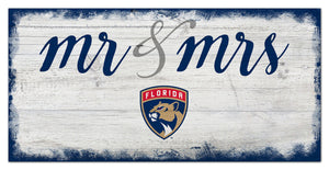 "Florida Panthers Mr. & Mrs. Script Wood Sign - 6""x12"""