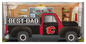 "Calgary Flames Best Dad Truck Sign - 6""x12"""