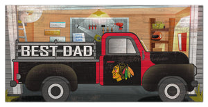 "Chicago Blackhawks Best Dad Truck Sign - 6""x12"""