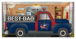 "Columbus Blue Jackets Best Dad Truck Sign - 6""x12"""