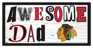 "Chicago Blackhawks Awesome Dad Wood Sign - 6""x12"""