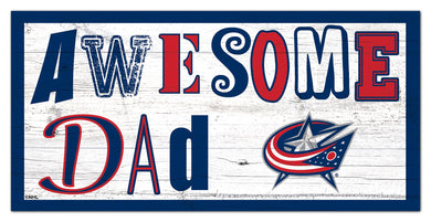 Columbus Blue Jackets Awesome Dad Wood Sign - 6