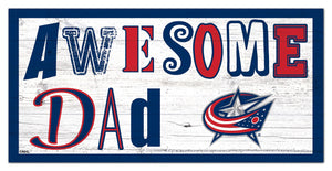 "Columbus Blue Jackets Awesome Dad Wood Sign - 6""x12"""