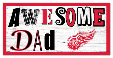 Detroit Red Wings Awesome Dad Wood Sign - 6