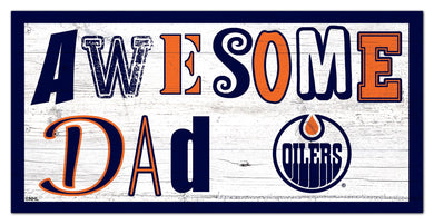 Edmonton Oilers Awesome Dad Wood Sign - 6