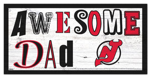 "New Jersey Devils Awesome Dad Wood Sign - 6""x12"""