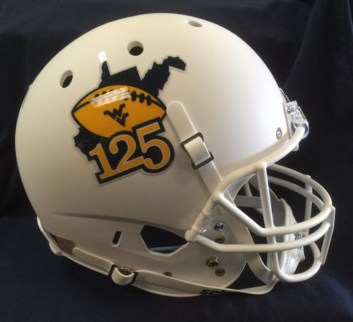 Side view of full-sized West Virginia Mountaineers football helmet WVU collectible celebrating 125 years