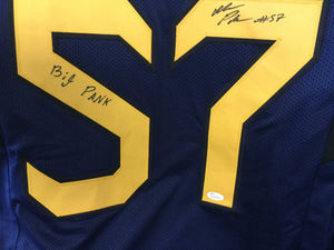 "NCAA football memorabilia Adam Pankey ""Big Pank"" signed WVU jersey from Sports Fanz"