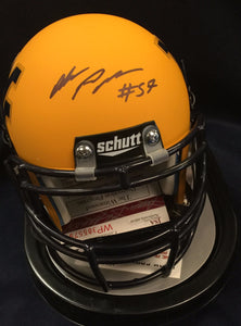 WVU collectibles Adam Pankey signed gold mini helmet from Sports Fanz