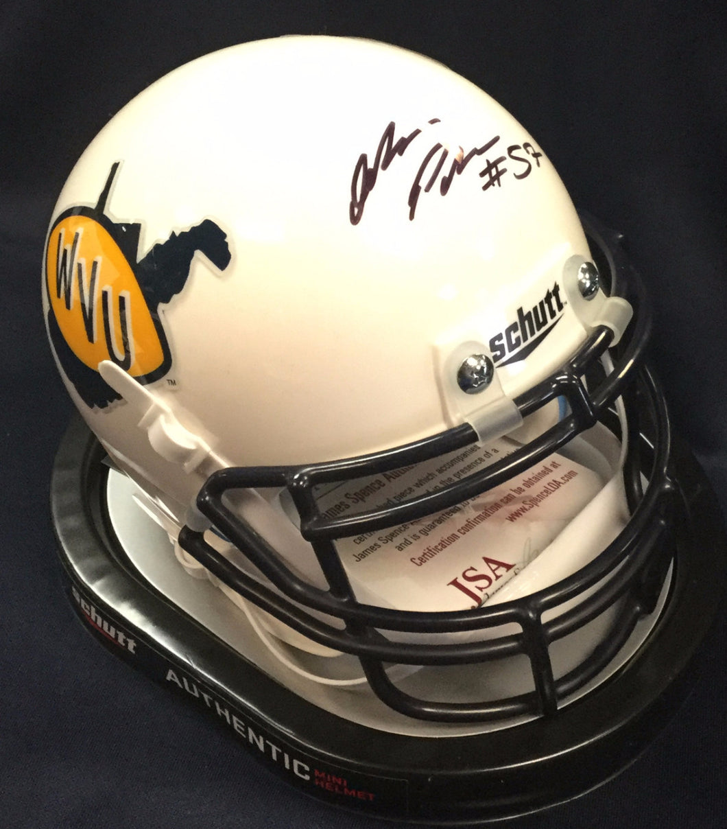 WVU collectibles Adam Pankey signed throwback mini helmet from Sports Fanz