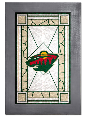 Minnesota Wild Stained Glass Wood Sign