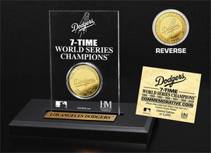 Los Angeles Dodgers 7-Time Champs Gold Mint Coin Acrylic Desk Top Display