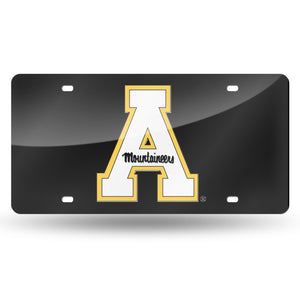 Appalachian State Mountaineers Black Chrome Laser Tag License Plate