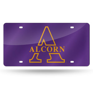 Alcorn State Braves Chrome Laser Tag License Plate