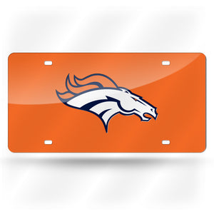 Denver Broncos Orange  Laser Tag License Plate