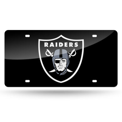 Oakland Raiders Black Chrome Laser Tag License Plate