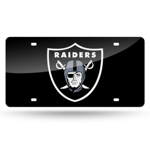 Las Vegas Raiders Black Chrome Laser Tag License Plate