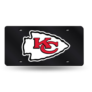 Kansas City Chiefs Black Chrome Laser Tag License Plate