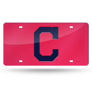 Cleveland Indians Red Chrome Laser Tag License Plate