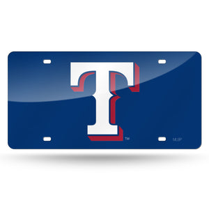 Texas Rangers Blue Chrome Laser Tag License Plate