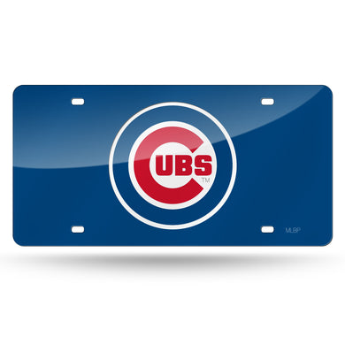 Chicago Cubs Blue Chrome Laser Tag License Plate