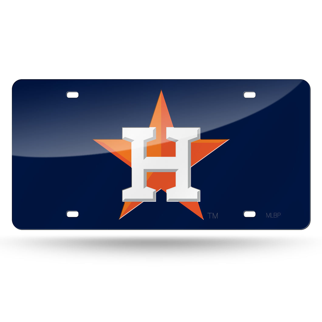 Houston Astros Navy Chrome Laser Tag License Plate
