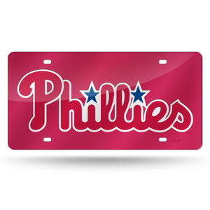 Philadelphia Phillies Red Chrome Laser Tag License Plate