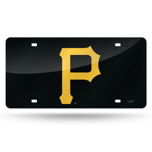 "Pittsburgh Pirates ""P"" Black Chrome Laser Tag License Plate"