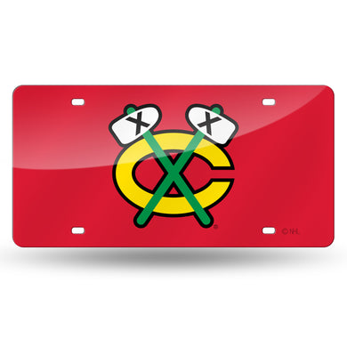 Chicago Blackhawks Chrome Laser Tag License Plate