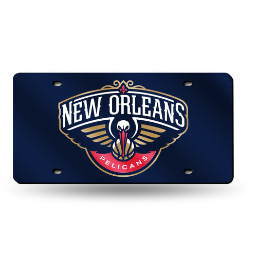 New Orleans Pelicans Blue Chrome Laser Tag License Plate