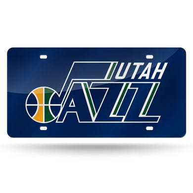 Utah Jazz Chrome Laser Tag License Plate