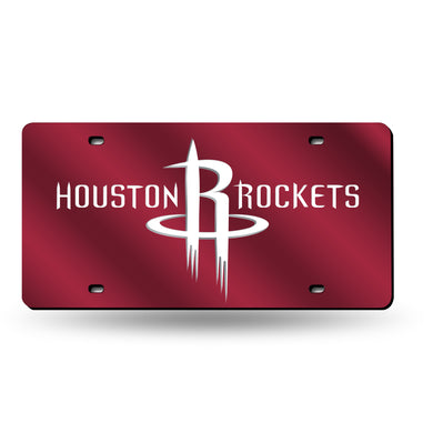 Houston Rockets Red Chrome Laser Tag License Plate