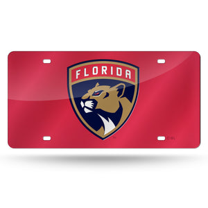 Florida Panthers Red Chrome Laser Tag License Plate