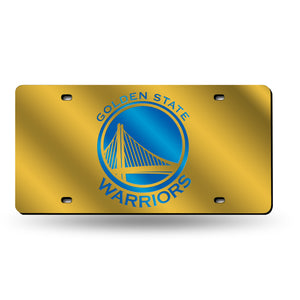 Golden State Warriors Yellow Chrome Laser Tag License Plate