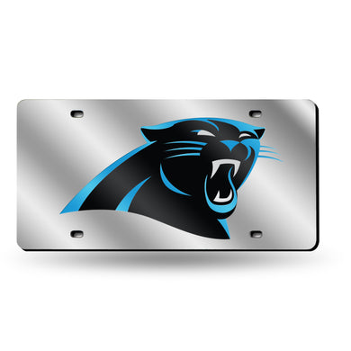 Carolina Panthers Silver Laser Tag License Plate