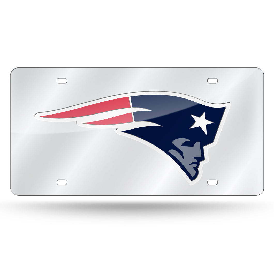 New England Patriots Silver Laser Tag License Plate