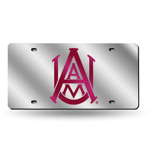 NCAA fan gear Alabama A&M Bulldogs silver laser tag license plate frame by Sports Fanz