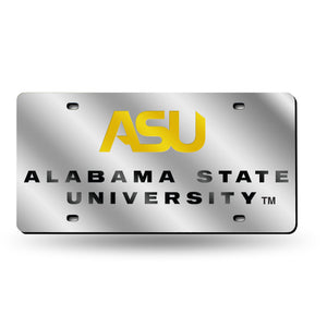 Alabama State Hornets Silver Laser Tag License Plate
