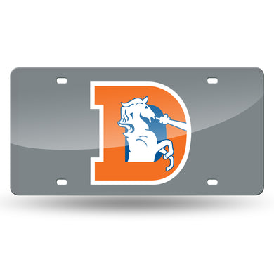 Denver Broncos Throwback Silver Laser Tag License Plate
