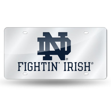 Notre Dame Fighting Irish Silver Laser Tag License Plate