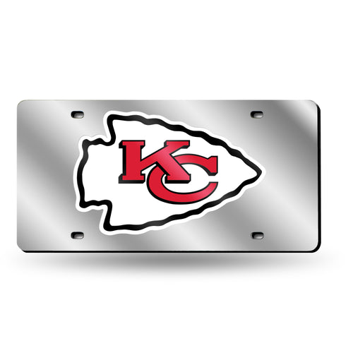 Kansas City Chiefs Chrome Laser Tag License Plate