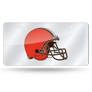 Cleveland Browns Silver Laser Tag License Plate