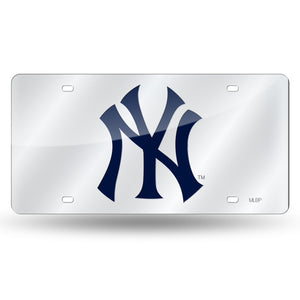 New York Yankees Silver Chrome Laser Tag License Plate
