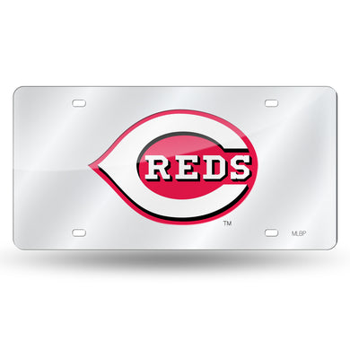 Cincinnati Reds Chrome Laser Tag License Plate